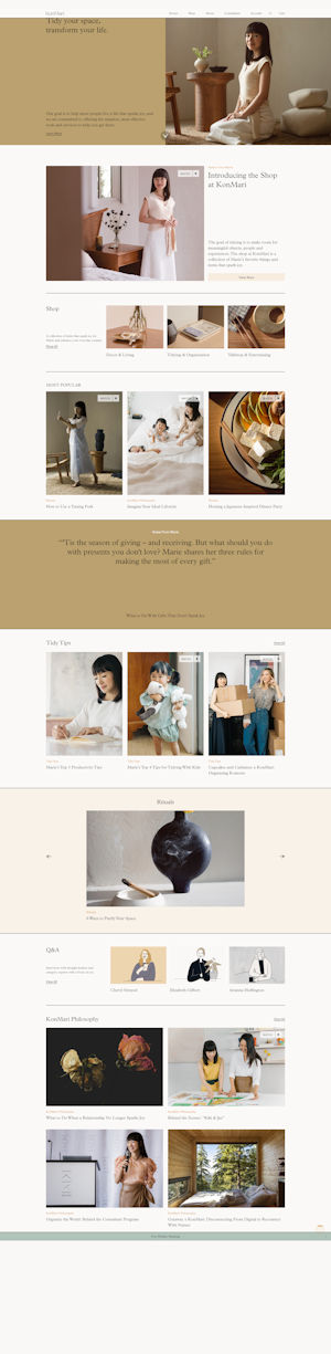 screen capture of Kon Mari website