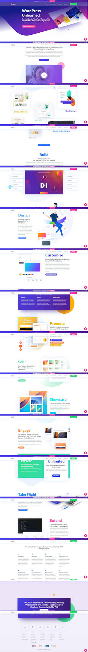 Screen capture of Elegant Themes website