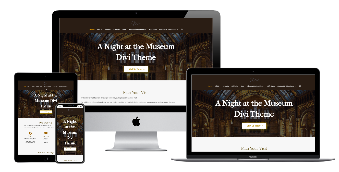 Screenshot showing the Buckland Museum website optimized for responsive layout on desktop, laptop, tablet, and phone.
